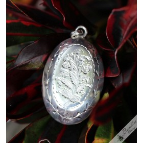 Vintage Large Bohemian Hand Etched 800 Silver Art Deco Locket Pendant