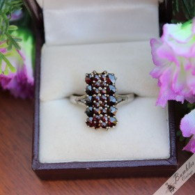 Vintage Bohemian Garnet Rectangle Ring 900 Silver size R - R.5, 8.75