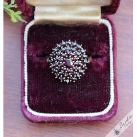 Vintage Bohemian Garnet Classic Floral Cluster Ring 900 Silver size 0 1/2, 7.5