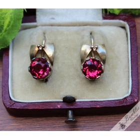 Unique Vintage Silver Gilt Bohemian Raspberry Lever Earrings