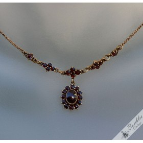 Vintage Bohemian Garnet Drop Necklace Silver Gilt