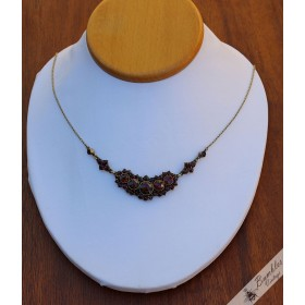 Antique Bohemian Garnet Cluster Lavalier Necklace Tombak c1900s