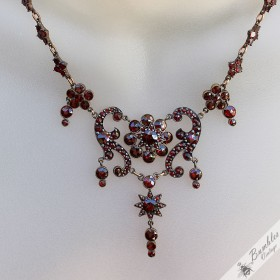 Antique Art Nouveau Bohemian Garnet Necklace Tombak