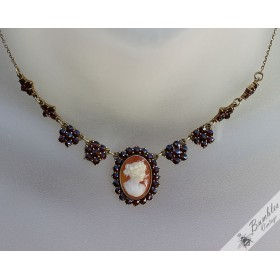 Vintage Bohemian Garnet Cameo Shell Silver Gilt Lavaliere Necklace