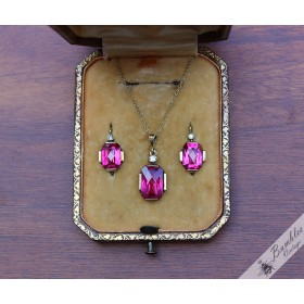 Art Deco 14k Gold Diamond & sim Ruby Earrings and Necklace Set