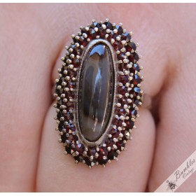 Stunning Large Vintage Bohemian Garnet & Brown Agate Oval Ring Silver size 8, Q
