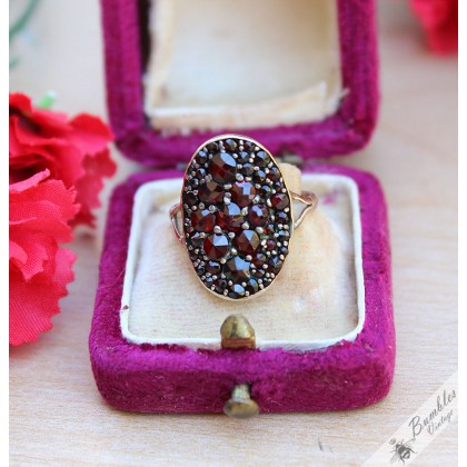 Antique Victorian Bohemian Garnet Oval Cluster Ring Tombak