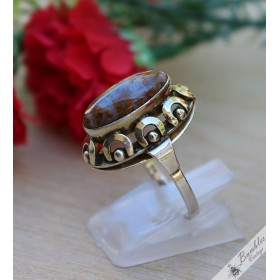 Vintage Bohemian High Set Petrified Wood Silver Cabochon Ring