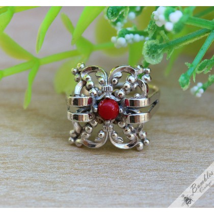 Vintage Unique Bohemian Square Openwork Ornate Silver Ring