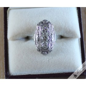 Antique 1930s 18k Gold Diamond Art Deco Plaque Ring size N, 6.75