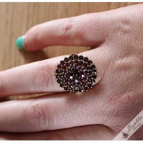 Vintage Bohemian Garnet 3 Tier Cluster Statement Ring Silver Gilt Large Round size P, 7.2