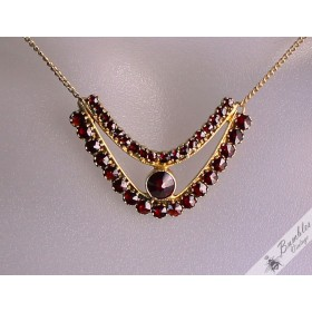 Vintage Bohemian Garnet Necklace Silver Gilt Czech