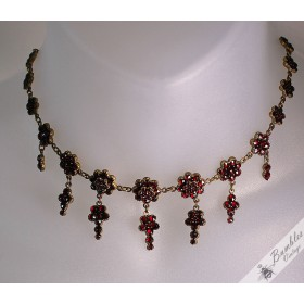 Antique Victorian Bohemian Garnet Floral Choker Collar Drop Necklace Tombak