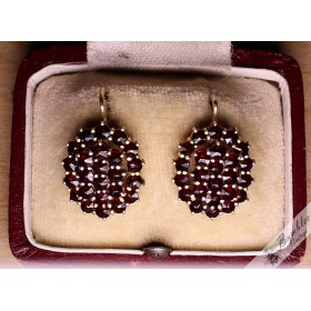 Vintage Bohemian Garnet 2 Tier Cluster Earrings Czech Lever Back Gilt
