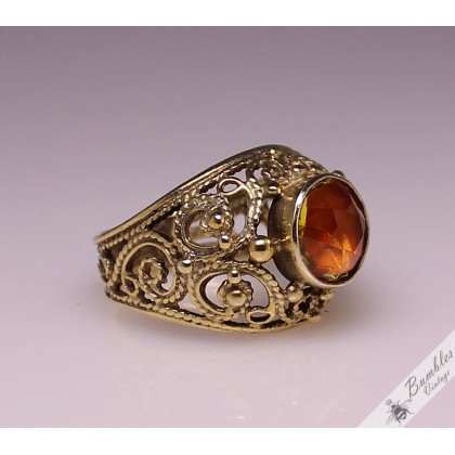 Vintage Russian Soviet Union Era Ornate, Openwork Ring 875 Silver Gilt Size 6, L 1/2
