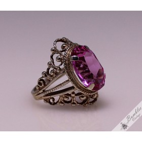 Vintage Soviet Russian High Set Openwork Pink Ornate Ring size 5.75, L - L 1/2