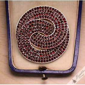Huge Unique Vintage Bohemian Garnet Brooch Czechoslovakia