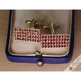 Vintage Bohemian Garnet Rectangle Cuff Links Silver Vermeil Czech
