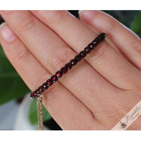Victorian Era Antique Bohemian Garnet Single Row Bangle Petite
