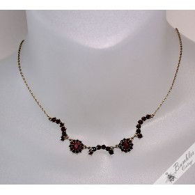 Unique Vintage Bohemian Garnet Lavalier Necklace