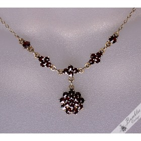 Vintage Bohemian Garnet Dangle Cluster Lavalier Necklace