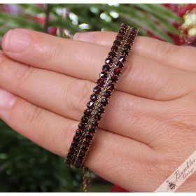 Vintage Rose Cut Bohemian Garnet Two Row Bangle
