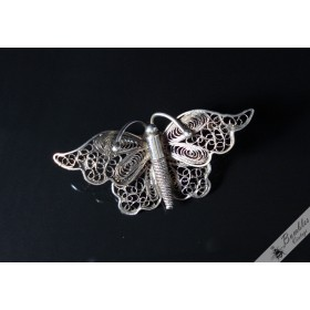 Antique Filigree Silver Butterfly Brooch with C Catch