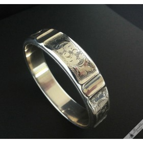 Vintage Silver European Etched Hollow Bangle
