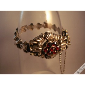 c1930 Art Deco Vintage Bohemian Garnet Silver Ornate Bracelet Antique Czech