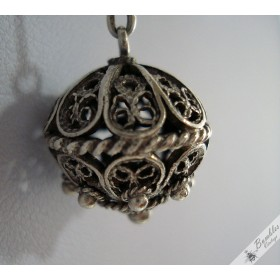 Czech Long Chain Silver Necklace with Filigree Ball Pendant c1940s