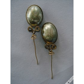 Large Unique Vintage Pearlescent Clip On Dangle Earrings