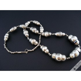 Vintage Industrial Silver Metal Chunky Bead Necklace