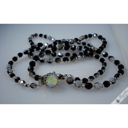 Vintage Faceted Glass Two Strand Necklace Czech