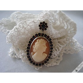 Vintage Necklace Pendant & Brooch with Natural Sea Shell Cameo & Bohemian Garnets Silver