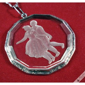 Vintage Czech European Silver Glass Pendant with Dancing Lovers cca 1930-1940s