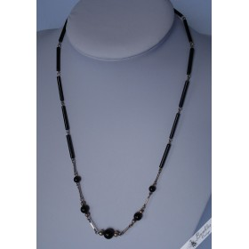 Vintage European Black Stone Onyx & 835 Silver Station Necklace c1950