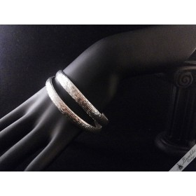 Pair of Diamond Cut Sterling Silver Bangles