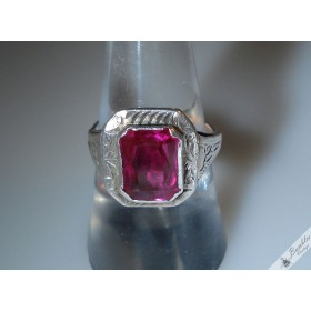 Vintage Czech Etched Silver Ring with Faceted Pink Simulated Stone Art Deco
