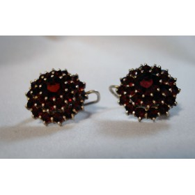 Vintage Bohemian Garnet Earrings 900 Silver 3 Tier Lever