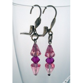 Vintage Faceted Glass Crystal Pink Purple Lever Dangle Earrings Silver Tone