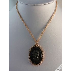 Vintage Black Cameo Necklace Gold Tone