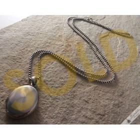 Vintage Sterling Silver Ball Chain Plain Locket Necklace
