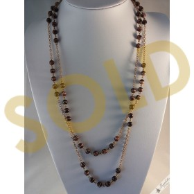Vintage Brown Brindle Glass Gold Tone Link Necklace