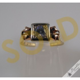 14k Yellow & Rose Gold White Sapphire European Czech Ring c1930