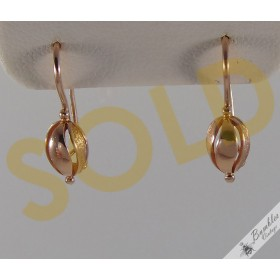 583 14k Solid Rose Gold Vintage Russian Soviet Union USSR Hook Earrings
