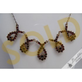Vintage Old Bohemian Rose Cut Garnet Gold over Silver Vermeil Necklace