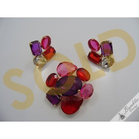 Statement Vintage Translucent Pink Red Purple Plastic Gold Tone Brooch Earring Set