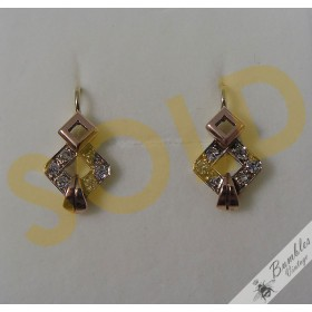 Vintage 14k Gold Art Deco Bohemian Earrings First Republic Czechoslovakia c1930