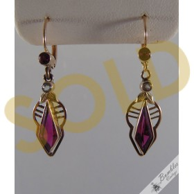 Fabulous Vintage European Bohemian 14k Gold Lever Synthetic Ruby Dangle Drop Earrings