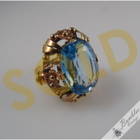 Vintage Bohemian Solid 14k Gold Natural Aquamarine Statement Cocktail Ring European